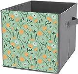 Caja de almacenamiento para ropa, plegable, cuadrada, organizador duradero, diseño de diente de león, flores botánicas de color verde azulado