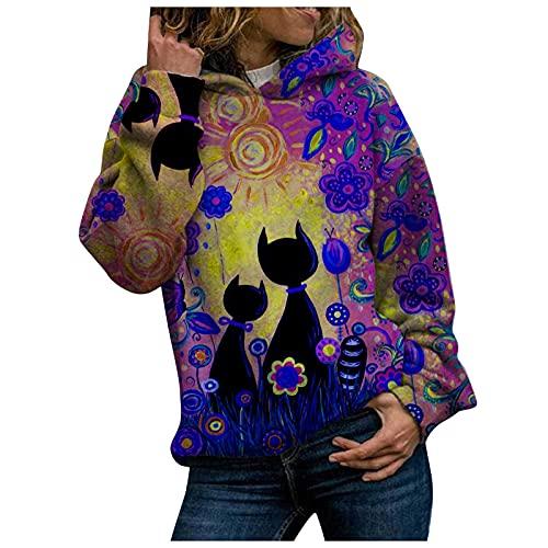 Sudadera de mujer de manga larga con capucha y estampado de animalier Landscape Jersey deportivo de exterior informal con cuello redondo de manga larga para otoño e invierno, violeta, L