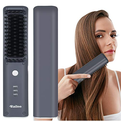 Railee Haarglättung Bürste, Haarglätter Bürste kabellos Ionische Männer Bartglätter MCH Keramik-Glätteisen-Kern 3Temperatureinstellungen USB aufladbare Tragbare Frizz-Free Verbrühungsschutz für