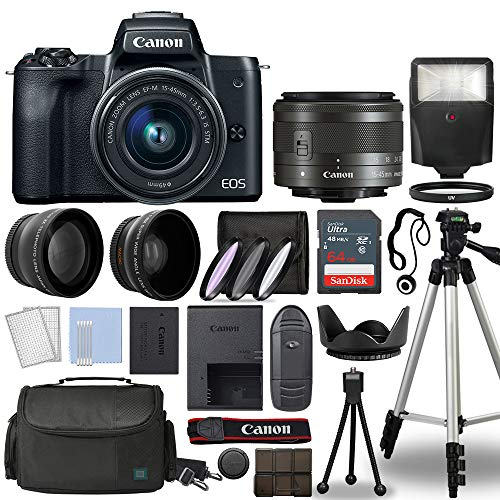 Canon EOS M50 Mirrorless Digital Camera Body Black with Canon EF-M 15-45mm f/3.5-6.3 is STM Lens 3 Lens Kit with Complete Accessory Bundle + 64GB + Flash + Case/Bag & More - International Model