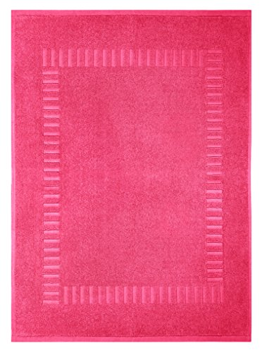 Lashuma Duschvorleger Pink - Fuchsia, Saugstarker Badezimmerläufer, Pure 50 x 70 cm