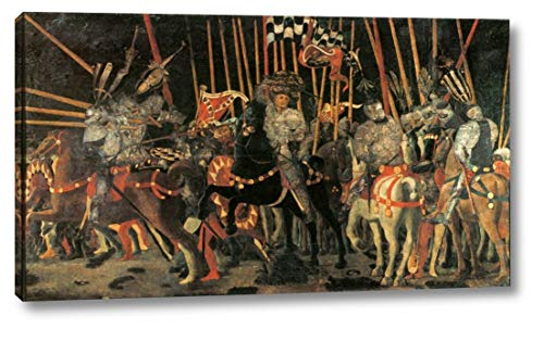 "Micheletto da Cotignola Engages in Battle by Paolo Uccello - 7"" x 12"" Gallery Wrap Canvas Art Print - Ready to Hang"