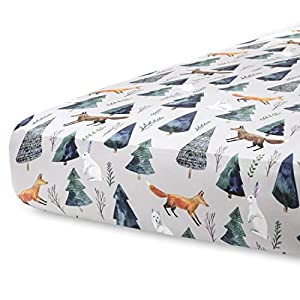 crib bedding and baby bedding pobi baby - premium fitted crib sheets for standard crib mattress - ultra-soft cotton blend, stylish animal pattern, safe and snug for baby (magical-animals)