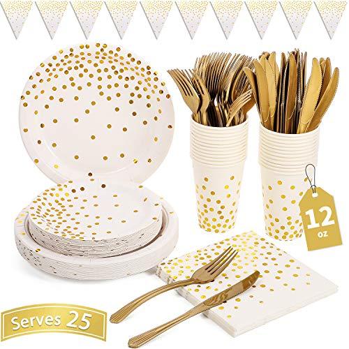 Weiß und Gold Partyzubehör 150PCS Golden Dot Einweg-Partygeschirr Enthält Pappteller, Servietten, Messer, Gabeln, 12 Unzen Tassen, Banner, für Brautdusche, Verlobung, Hochzeit, für 25 Personen