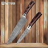 Manija cuchillos de cocina de Damasco venas inoxidable cuchillos de acero de madera del color de pelado de Utilidad Santoku rebanar Chef Cocinar cuchillo Herramientas de cocina (Color : 2PCS 3)
