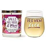 Cedar Crate Market Best Mom Ever Set de Regalo | Bonito Vaso de Vino sin Tallo de 15 oz | Vela de Soja perfumada 10 oz | Limón, jazmín, Palisandro | Regalo