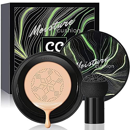 Mushroom Head Air Cushion CC Cream Foundation, Moisturizing Concealer, Bright Makeup Base, Long Lasting Matte Concealer (Natural)