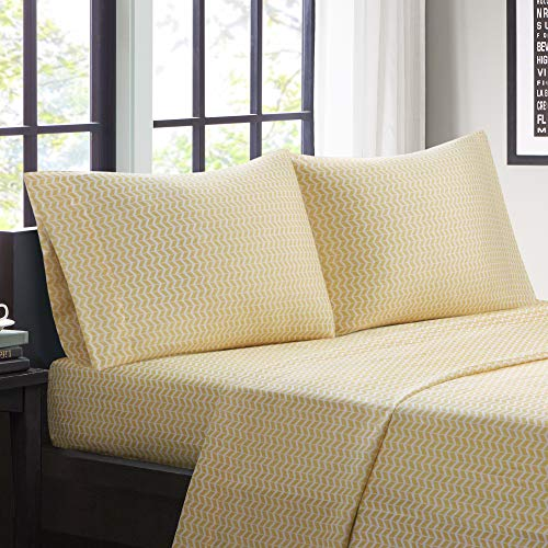 "Intelligent Design Microfiber Wrinkle Resistant, Soft Sheets with 12"" Pocket Modern, All Season, Cozy Bedding-Set, Matching Pillow Case, Twin, Chevron Yellow"