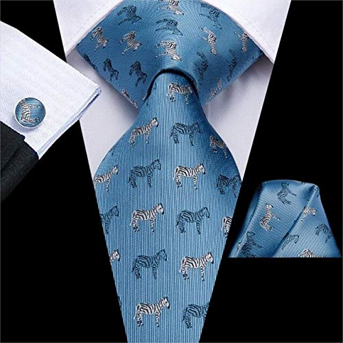 DJLHN Hi-Tie Krawatten aus Seide mit rosa Muster für Herren Manschettenknöpfe Set Pfirsich Zebra Pferd Stil Krawatte Geschenk für Männer Jacquard Gravur - C-3307