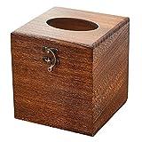 SINOBEST Wood Tissue Box Cover Decorative Square Facial Tissue Holder Napkin Dispenser for Bathroom and Home Decoration