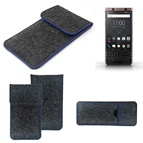 K-S-Trade Filz Schutz Hülle Für BlackBerry KEYone Bronze Edition Schutzhülle Filztasche Pouch Tasche Hülle Sleeve Handyhülle Filzhülle Dunkelgrau, Blauer Rand