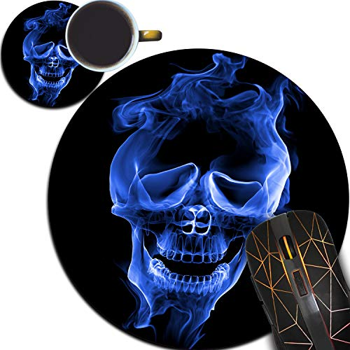 Personalized Round Mouse Pad and Coaster Set, Blue Flaming Skull Design Round Non-Slip Rubber Mouse Pads Office Desk Accessories for Computers Laptop