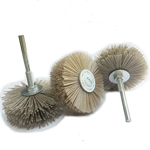 4Pieces Abrasive Wire Grinding Flower Head Polishing Brush 6mm Shank for Grinding Tool Accessories