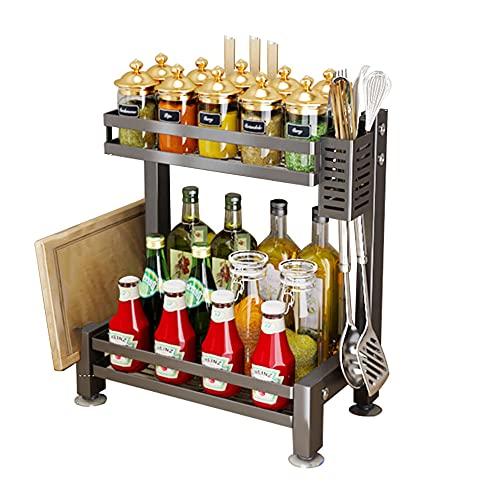XGGYOOG Spice Rack de Cocina de Acero Inoxidable, Estante Multifunción para el Hogar, Gran Capacidad y Fuerte Carga/H / 43×41.2cm