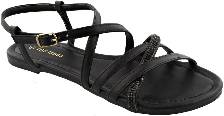 Top Moda Karen-5 Women's Ankle Strap Flat Sandal with Rhinestones (7, Black)