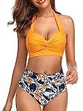 DURINM Conjunto De Bikini de Mujer Traje de Baño 2 Piezas de Cuello Halter Traje de Baño de Estampado Floral de Cintura Alta para el Verano