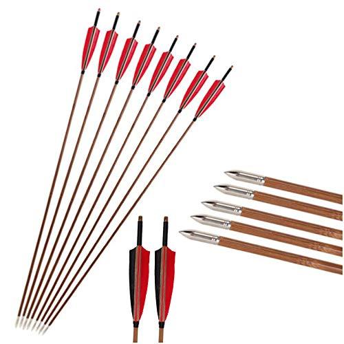 K66KY Flecha de bambú Tradicional - 12pcs Flechas de bambú - con Pluma Real para Arco Tradicional Longbow & RECURVE Bow HOBTING PRÁCTICA DE PRÁCTICA