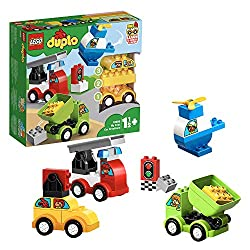 Build four cute vehicles out of big building blocks: A toy taxi, garbage truck toy, fire truck toy and a toy helicopter Enjoy endless pretend play with the traffic light and character decorations, then mix up the bricks and create new toy trucks and ...