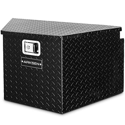ARKSEN 33-Inch Diamond Plate Aluminum Trailer Tongue Box Pickup Truck Tool Box Storage Organizer With Lock Key, Black