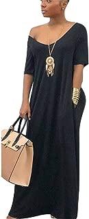 Women Casual Cold Shoulder Color Block Short Sleeve Loose Maxi Long Dress