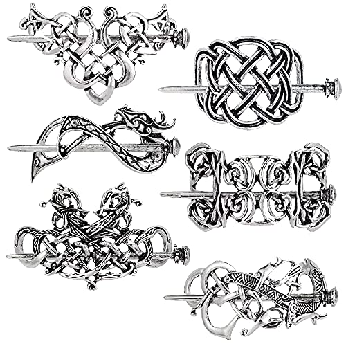 Vintage Silver Hairpins Set, Celtic Hair Slide, Viking Hair Clips, Accessories Irish Style, No-Slip Strong Grip Comfortable for Girls and Ladies (6 PCS)
