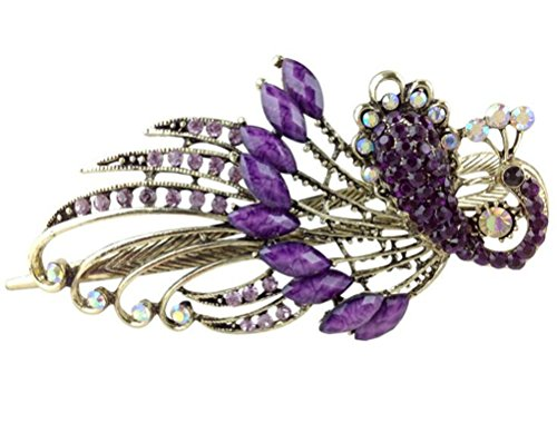 Cuhair (TM) pour la fête cadeau 1 pcs Punk Paon en métal Design cristal pour femme fille Barrettes à cheveux Claw Accessoires