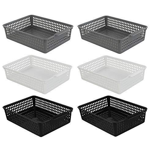Cadine 6 Stück Aufbewahrungskorb aus Kunststoff, Plastik Korb a4, Schwarz/Weiß/Grau Körbchen a4