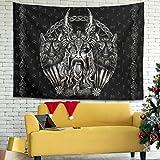 Firelife Wikinger Odin Runen Wandteppich Wandbehang Tuch Wandtuch Wall Hanging Tapisserie Wanddeko für Schlafzimmer Wohnzimmer Stranddecke Tagesdecke White 200x150cm