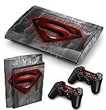 Funky Planet PS3 Super Slim Playstation Pegatinas de PVC para la Consola + 2 Controladores Decal Protector Arte [Sony_playstation3] (Red Superman)