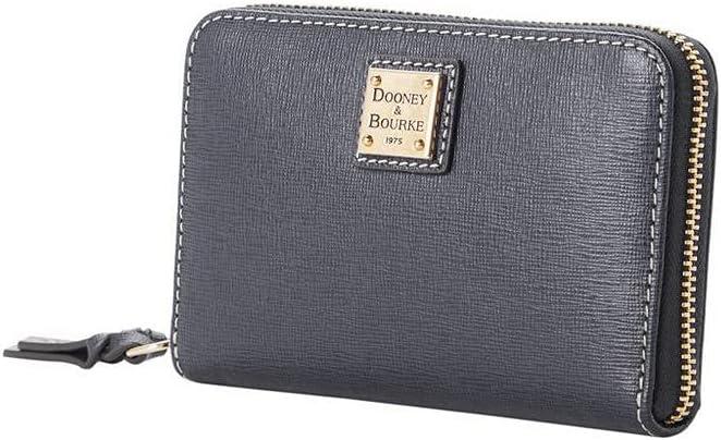 Dooney & Bourke Women's WSAFF0323 Saffiano Medium Zip Around Wallet, Dark Grey