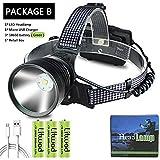 KUANDARMX Phare intégré de Refroidissement Phare Batterie Externe Lampe Frontale Lampe de Poche Torche LED Camping & randonnée phares 3 * 18650 Batterie 30 W,