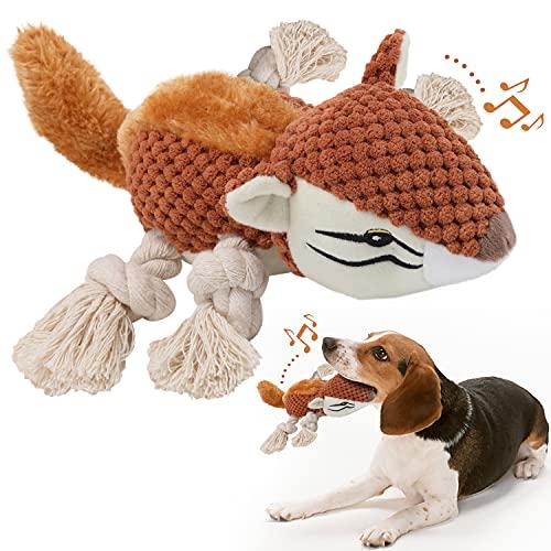Hunde Plüschtier,Quietschendes Hundespielzeug mit Strapazierfähigem Material und Crinkle-Papier,Stofftier Kuscheltier Hund Interaktives Kauspielzeug Plüschspielzeug für kleine und mittelgroße Hunde.