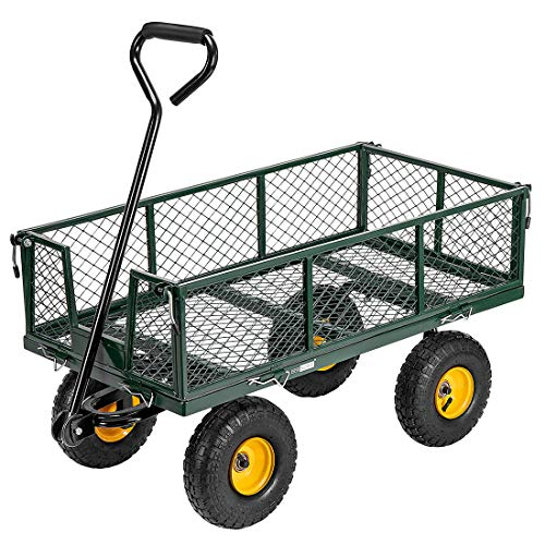 VIVOHOME Heavy Duty 1100 Lbs Capacity Mesh Steel Garden Cart Folding Utility Wagon with Removable Sides and 10 Inch Wheels Green