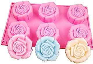 Lanyani Rose Silicone Soap Mold 6 Cavity Bar Soap Mold Cupcake Backing Mold Muffin pan Handmade Soap Silicone Molds Chocolate Mould