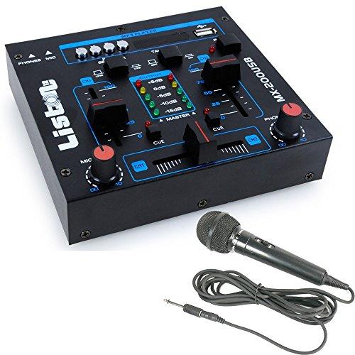 WJG Industrievertretung 2-Kanal DJ Mischpult USB/MP3 Crossfading Talkover MX-200USB inklusive Mikrofon