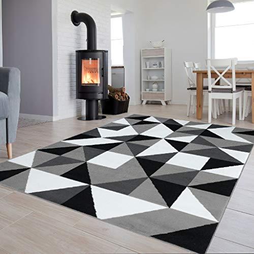 TAPISO Collection Luxury Tapis de Salon Chambre Moderne Couleur Blanc Gris Noir Motif Triangle Facile d