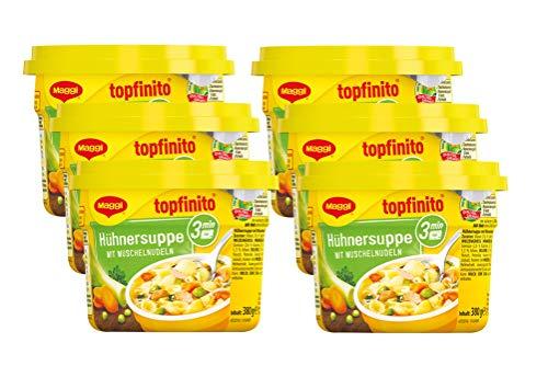 MAGGI Topfinito Hühnersuppe mit Muschelnudeln: kräftige Hühnerbrühe mit knackigem Gemüse & feinem Hühnerfleisch, für die Mikrowelle, 6er Pack (6 x 380 g)