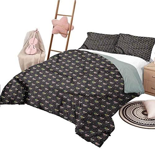 Bettbezug Set Schädel Weiche Ganzjahres-Baumwollmischung Tagesdecke Mexiko Tag der Toten Blumen