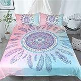 3D Mandala Feather Bedding Set 3Pcs Cómoda Funda Nórdica Funda De Almohada Twin Full Queen King Size Ropa De Cama Edredón Cover Home Decor,228cmx228cm