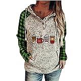 Womens Casual Hooded Sweatshirt Loose Drawstring Pullover Hoodies Christmas Hoodie Print elf Sweater Long Sleeve Lightweight (#03 Green,Medium)