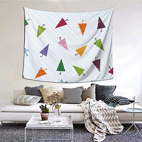 Breiter Wandteppich mit Regenschirm-Muster, luxuriöser Wandbehang für Schlafzimmer, Wohnzimmer, 152,4 x 139,7 cm, bunter Regenschirm