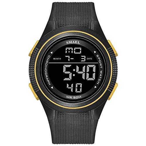 SMAEL Reloj Deportivo Digital para Hombre, Reloj Deportivo Impermeable Reloj para Correr Al Aire Libre con Retroiluminación LED, Temporizador, Alarma, Reloj Deportivo LED para Hombres,Black Gold