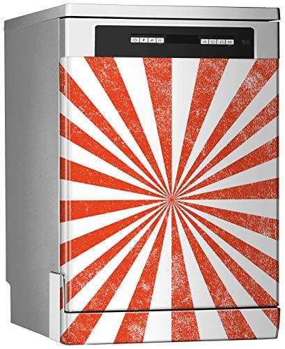 Megadecor Decoratief vinyl voor vaatwasser, afmetingen standaard 67 cm x 76 cm, zonnestralen rood en wit, vintage, vloer Stallo, motief circus achtergrond voor carnaval retro