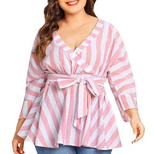 Alikeey Hemd, wit, dames, winter, grote maat, riem, gestreept, van katoen en linnen, lange mouwen, voor vrouwen