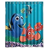 Yiibaiikuaii Finding Nemo Custom Polyester Waterproof Bath Shower Curtain Rings Included 60