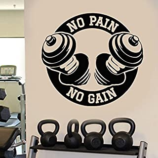 Tattoos-zuhsn Gym No Pain No Gain Weights Fitness Ejercicio Wall Art Decal Sticker Sport Picture 62X57cm