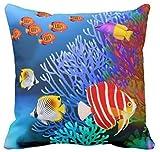 Wini2342ckey Pacific - Funda de cojín de lona cuadrada para decoración de habitación de niñas, diseño de arrecifes de coral de agua salada, para acuario, Moj americano, 45,7 x 45,7 cm