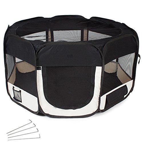 TecTake Parc à chiots chien chaton chat enclos pour chiens 115 x 115 x 64 cm (LxlxH) noir