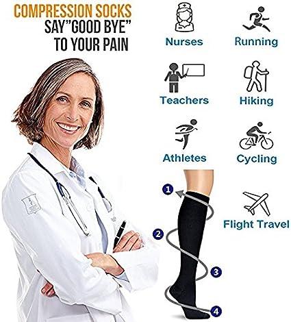f/ür Frauen /& M/änner f/ür Medizin Acexy Kompressionssocken Krampfadern Durchblutung /& Erholung Krankenpflege 7 Paar /Ödeme Laufen /& Fitness