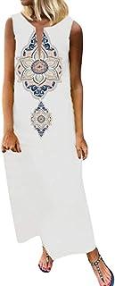 Cebbay - Mujer Verano Damas de Vestir Vestido de Talla Grande Camiseta de algodón y Vestido de Lino Casual Manga Corta Vestido Midi